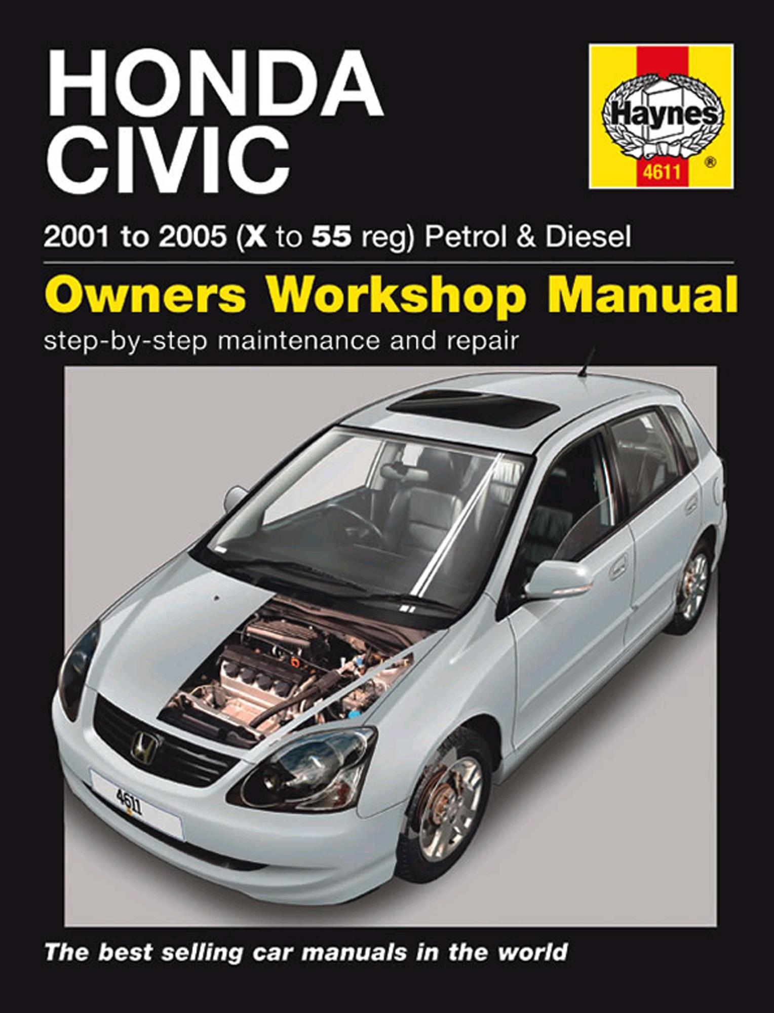 haynes owners workshop manual honda civic 2001 2005 petrol diesel rh ebay co uk 2005 civic lx service manual 2005 honda civic si service manual
