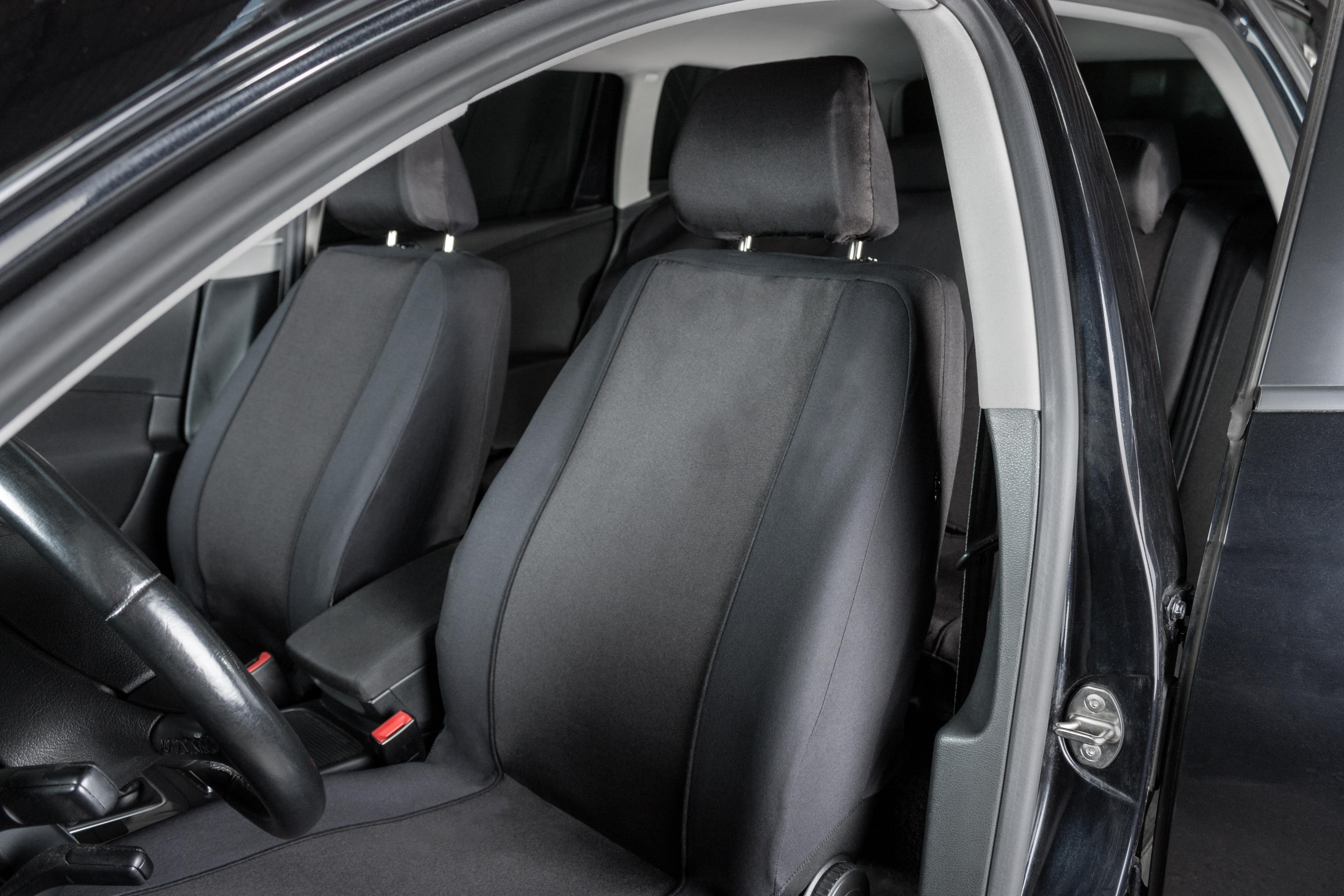 halfords front interior woven fabric car seat protector covers pair black 5054277257518 ebay. Black Bedroom Furniture Sets. Home Design Ideas