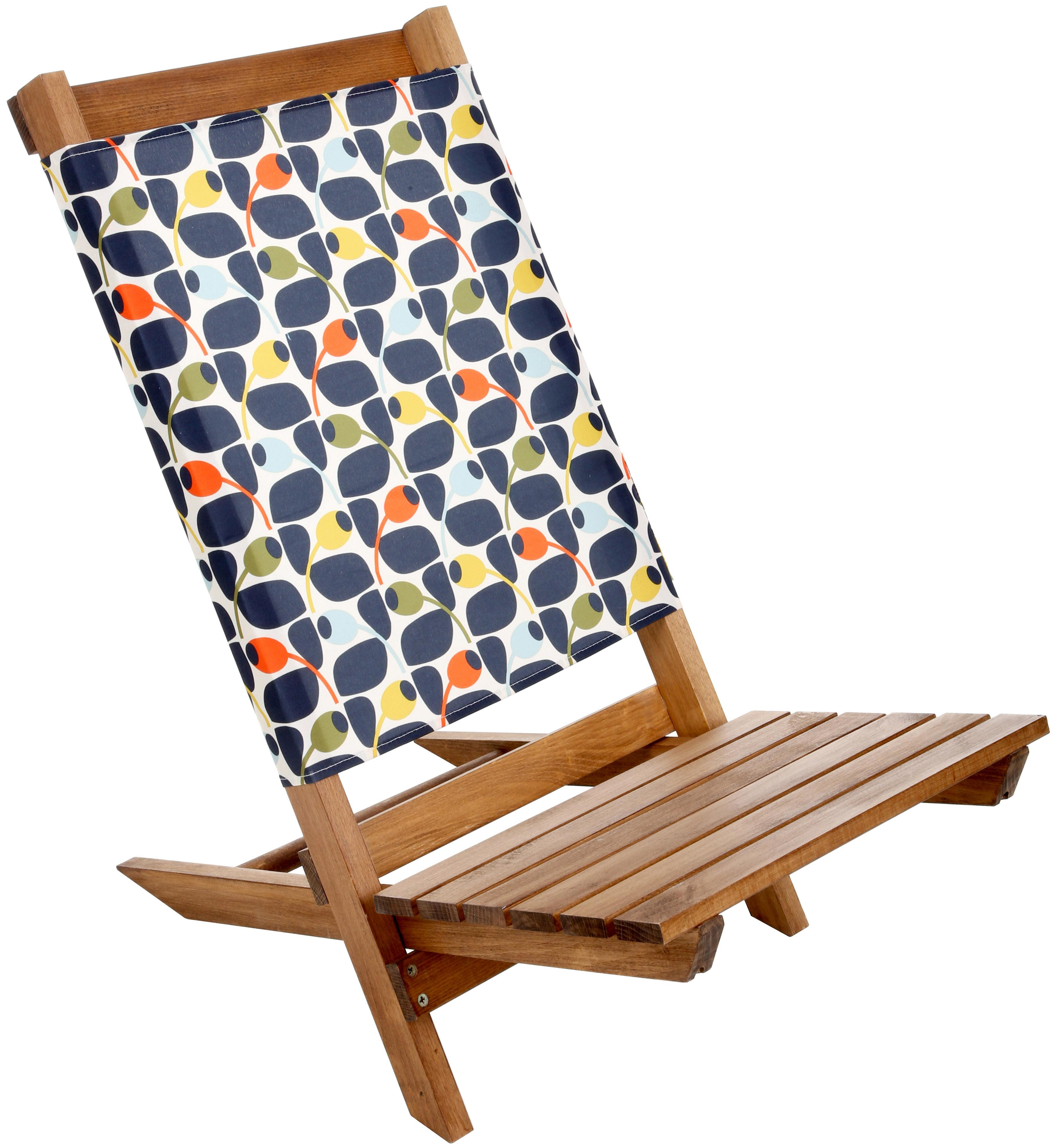 Olive And Orange By Orla Kiely Garden Camp Beach Folding Wooden Festival  Chair