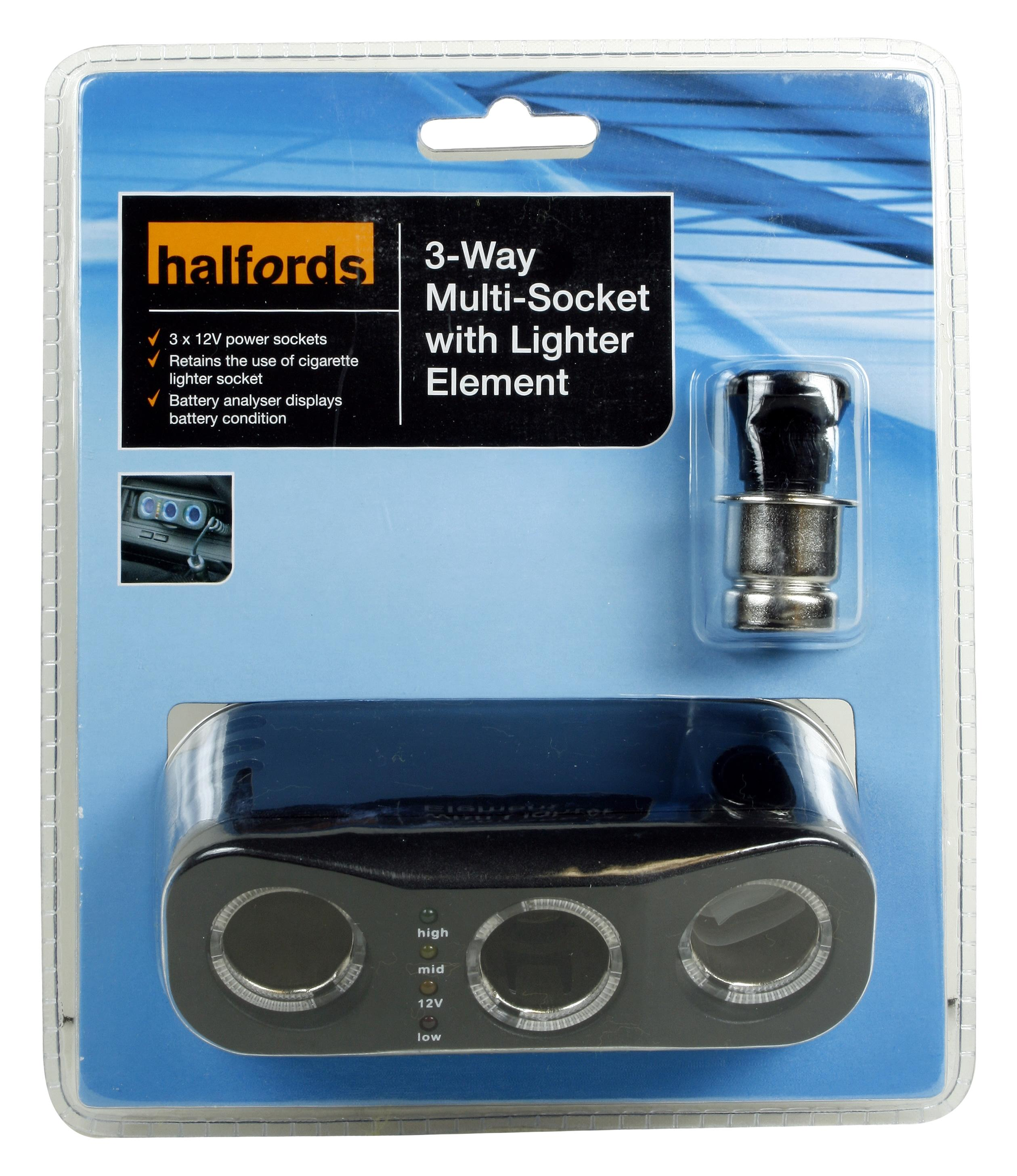Halfords 3 Way 12V Multi Socket Splitter Cigarette Lighter Car ...