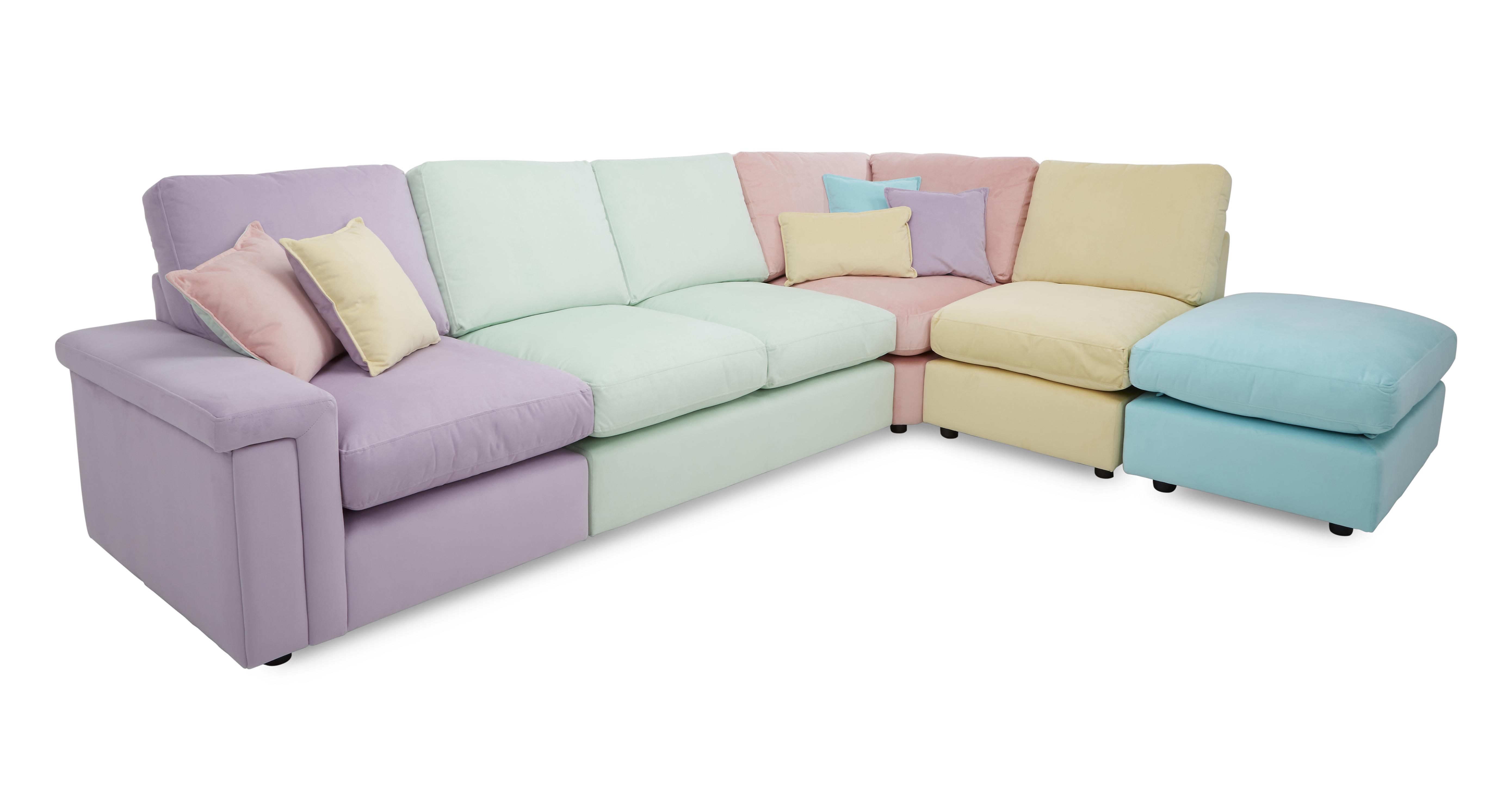 DFS Tropica Set Corner Sofa Armchair Footstool & 6 Scatter