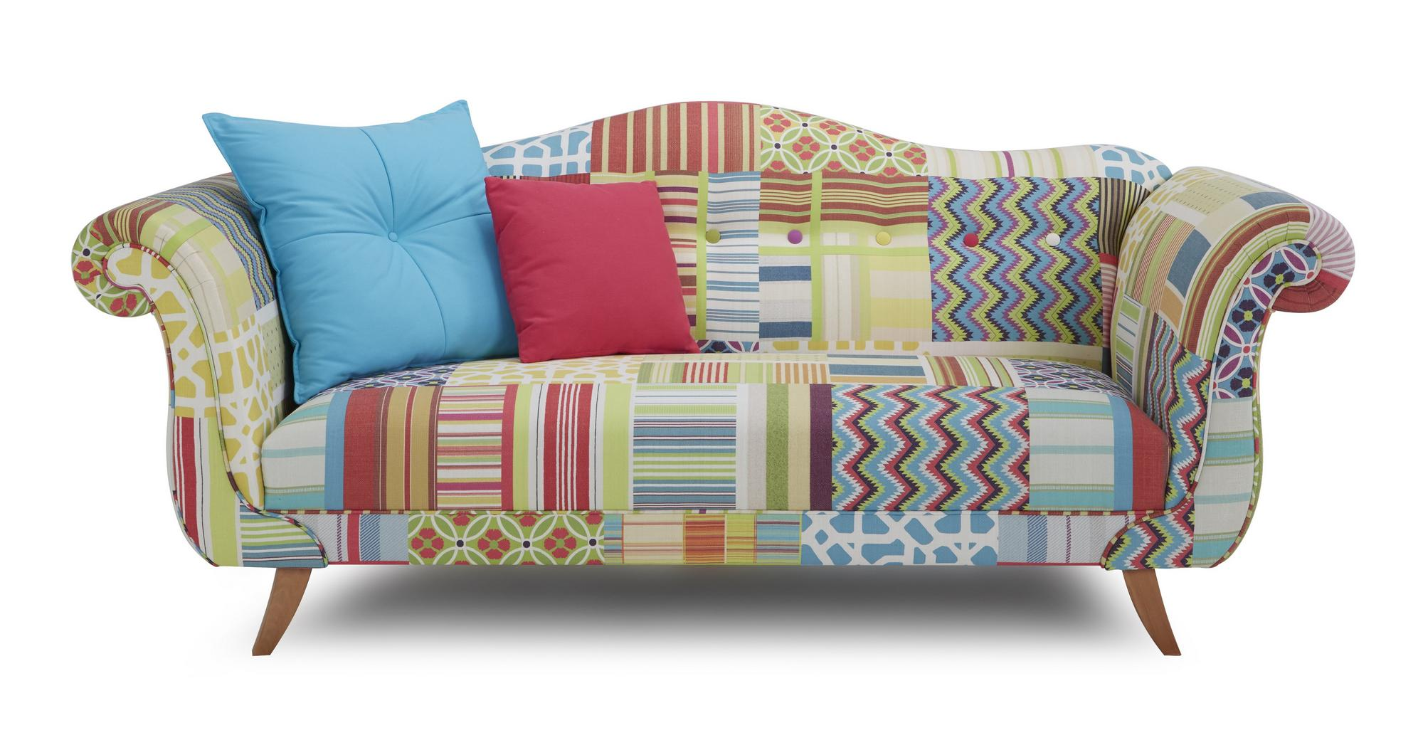 DFS Fairground Bright Patch Fabric 3 Seater Sofa Stool & Pink