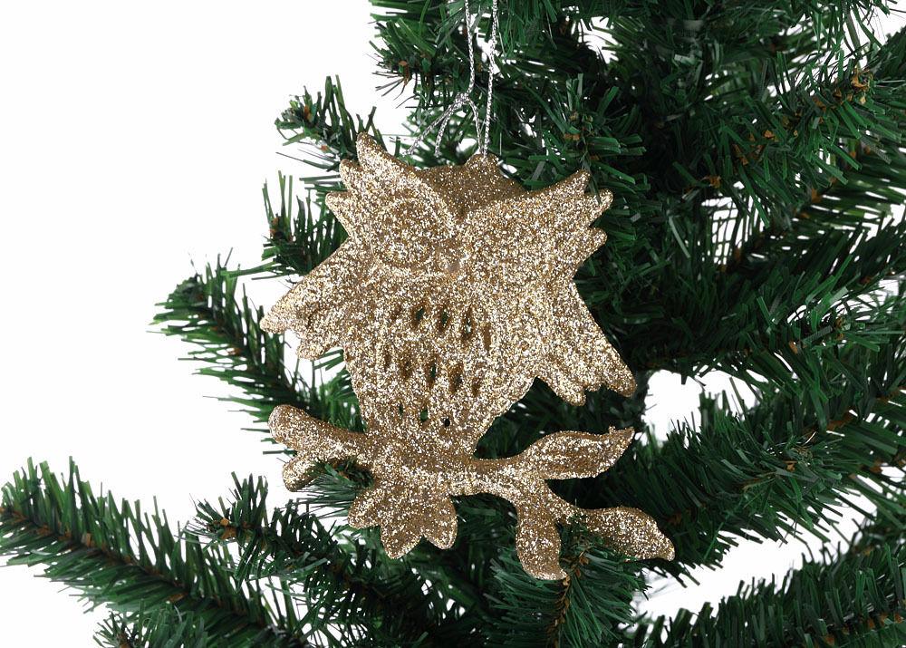 Xmas 3 x Gold Glitter Reindeer Tree Decorations