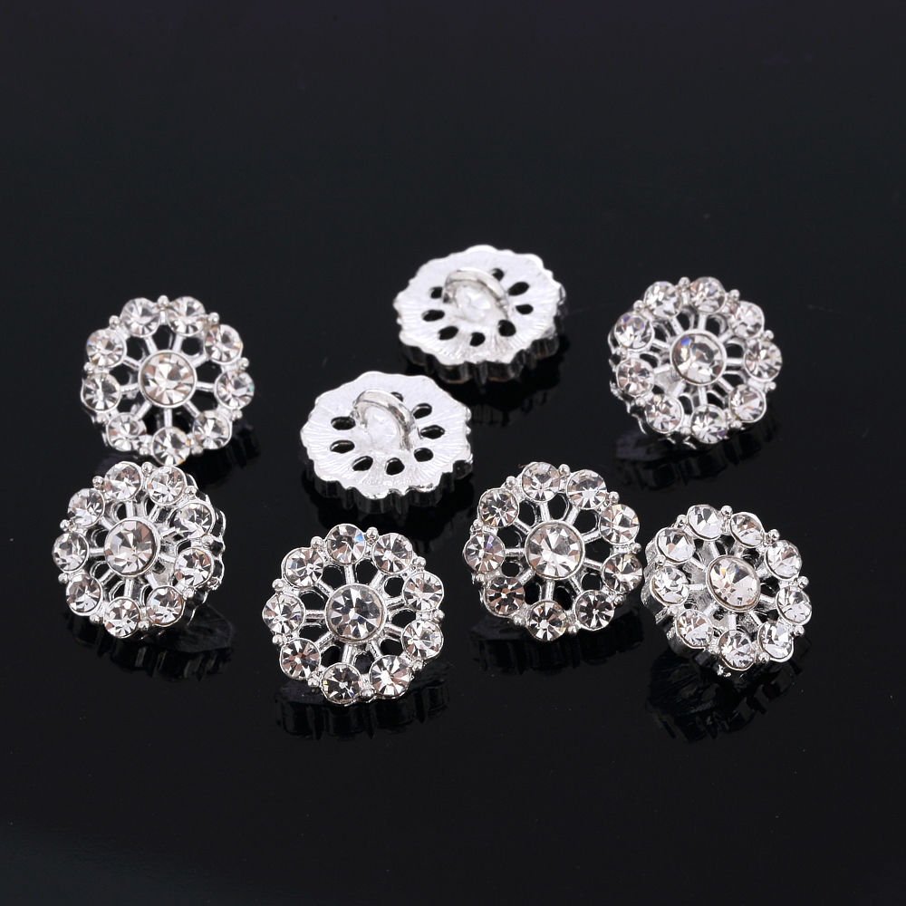 DB 10pcs Diamante Faceted Crystal Buttons Diamante Silver Rhinestone Sewing