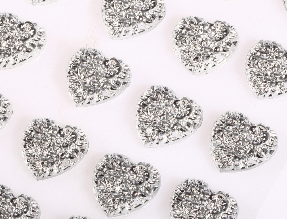 Self Adhesive AB Diamante Bubble Hearts Stick on Gems 24pcs 16mm Wedding Card