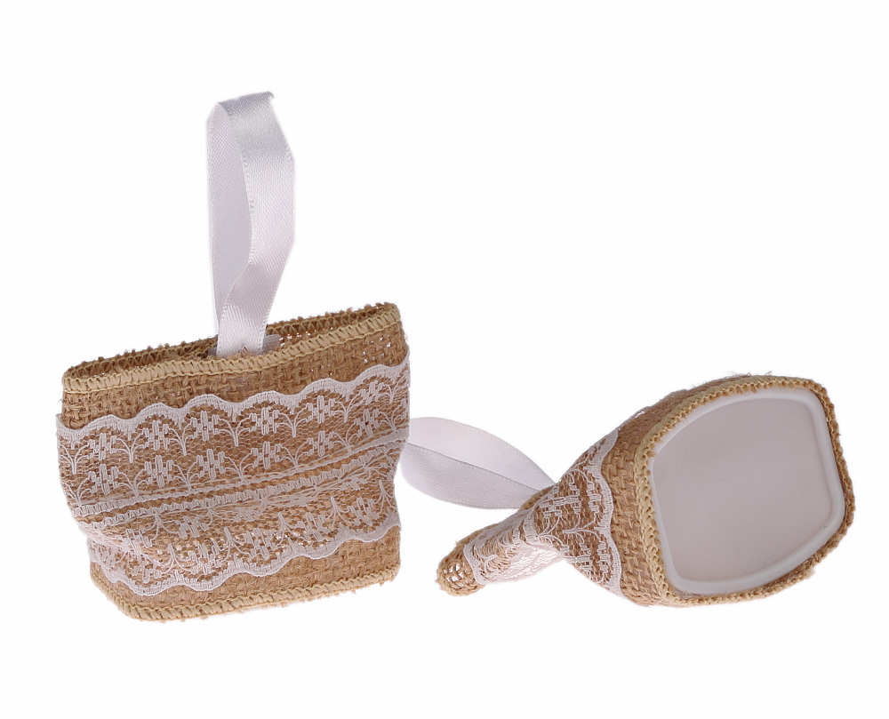 1 x Hessian B Flower Favour Pouch Bag Pearl White Lace Wedding Gift Velcro
