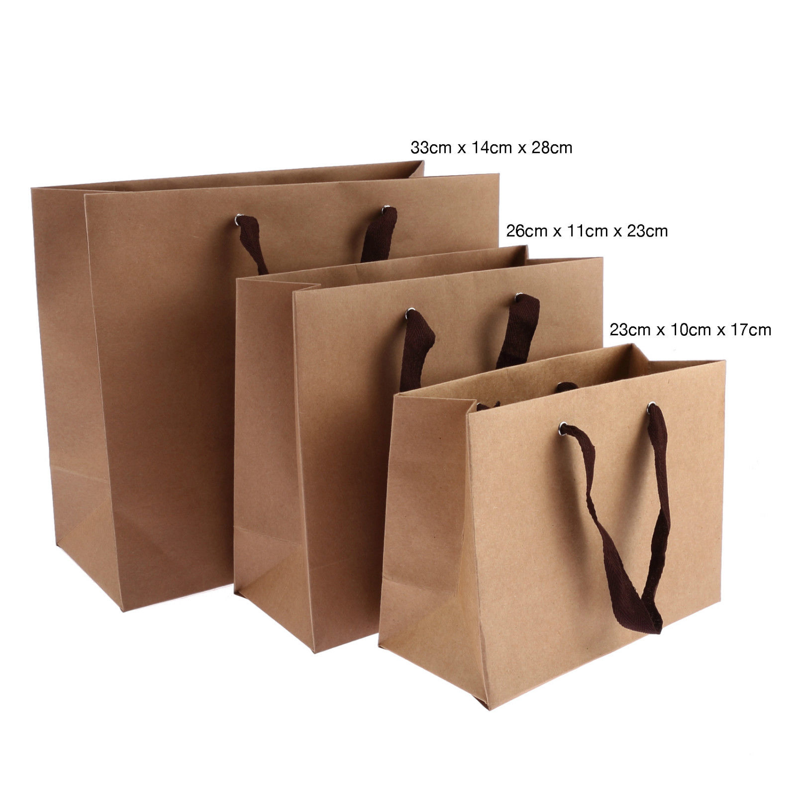 2fb485662803 10 x Luxury Kraft Paper Gift Party Recyclable Quality Carrier Bags Handles