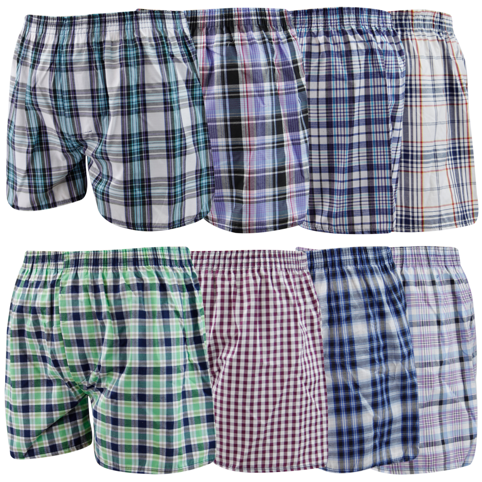 6 Pack Mens Woven Check Print Poly Cotton Boxer Shorts ...