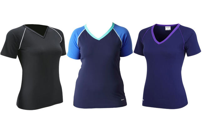 eb421f9d5d131 5060300432548 08450941377. swimwear ladies lydia v neck swim top short  sleeve black & navy 8 24 plus tops. BOHN