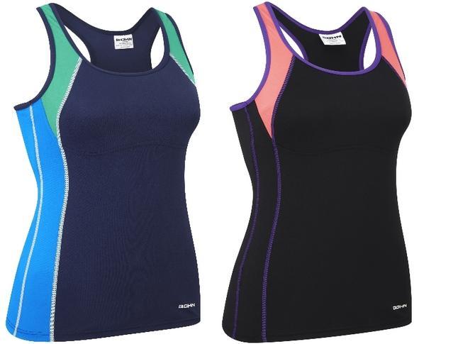 Bohn Swimwear Jansie Tankini Top Black/Coral/Purple & Navy Blue 8-24 Plus Sizes