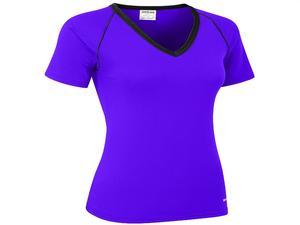 Bohn Swimwear Ladies Short Sleeve V-Neck Swim Top Purple 8-24 Plus Sizes