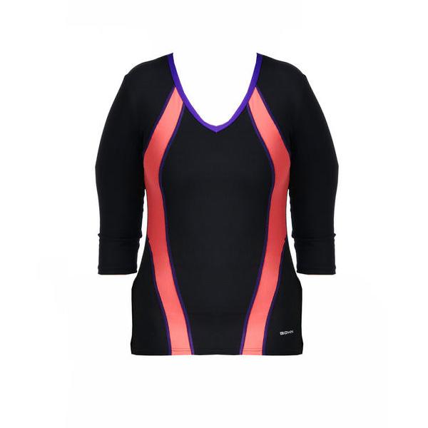Bohn Swimwear Charlie Ladies 3/4 Length Sleeve Swim Top Black 8-24 Plus Sizes