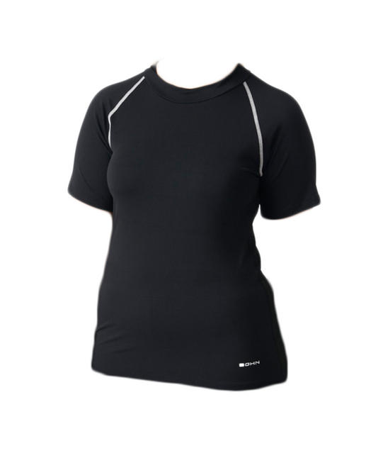 Bohn Swimwear Annie Ladies Short Sleeve High Neck Swim Top Black 8-24 Plus Sizes