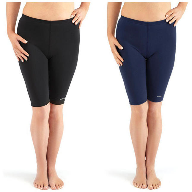 Bohn Swimwear Ladies Margie Swim Jammers Leggings Black And Navy 8-24 Plus Sizes