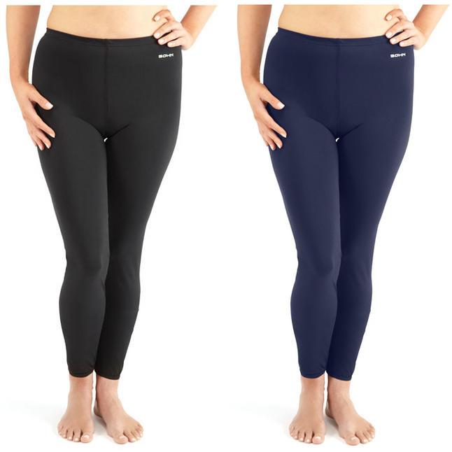Bohn Swimwear Ladies Angie Ankle Length Leggings Black And Navy 8-24 Plus Sizes
