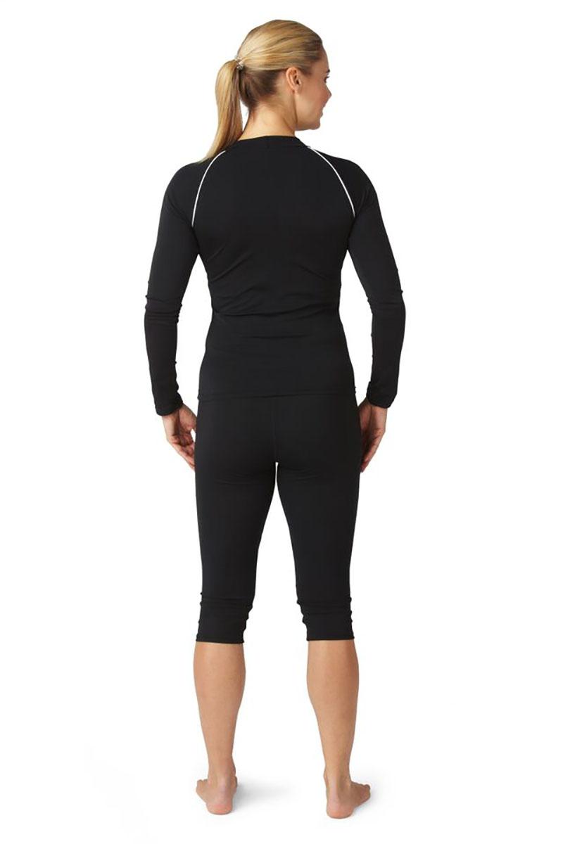 Bohn Swimwear Ladies Long Sleeve High Neck Swim Top Black & Navy 8-24 Plus Sizes Thumbnail 6