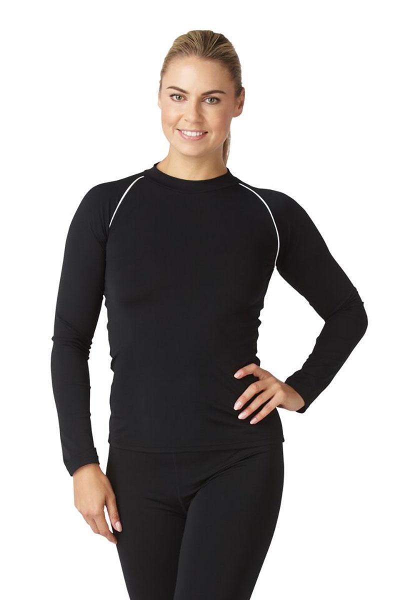 Bohn Swimwear Ladies Long Sleeve High Neck Swim Top Black & Navy 8-24 Plus Sizes Thumbnail 2