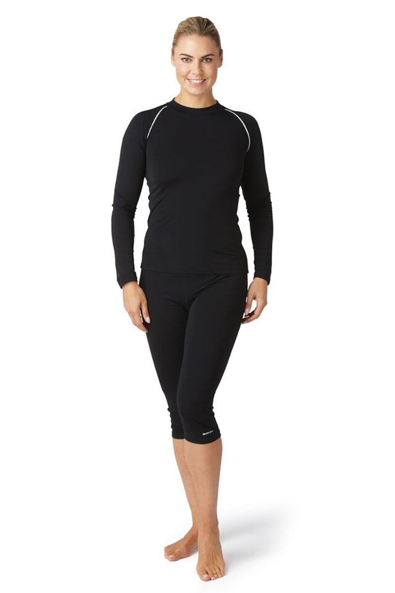 Bohn Swimwear Ladies Long Sleeve High Neck Swim Top Black & Navy 8-24 Plus Sizes Thumbnail 5