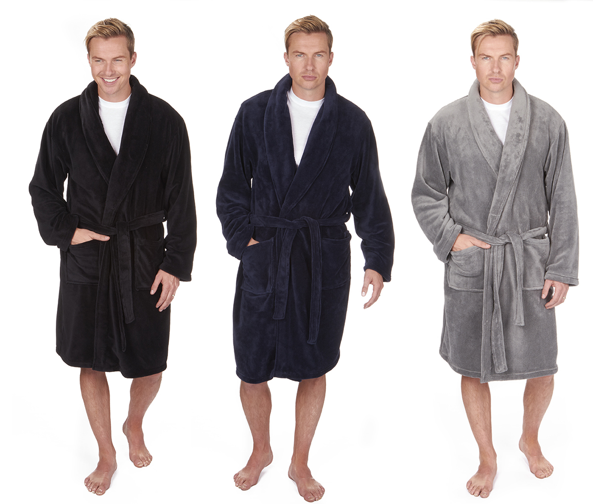 12c0764bb7 PIERRE ROCHE Mens Dressing Gown Bath Robe Soft Warm Coral Fleece Shawl  Collar