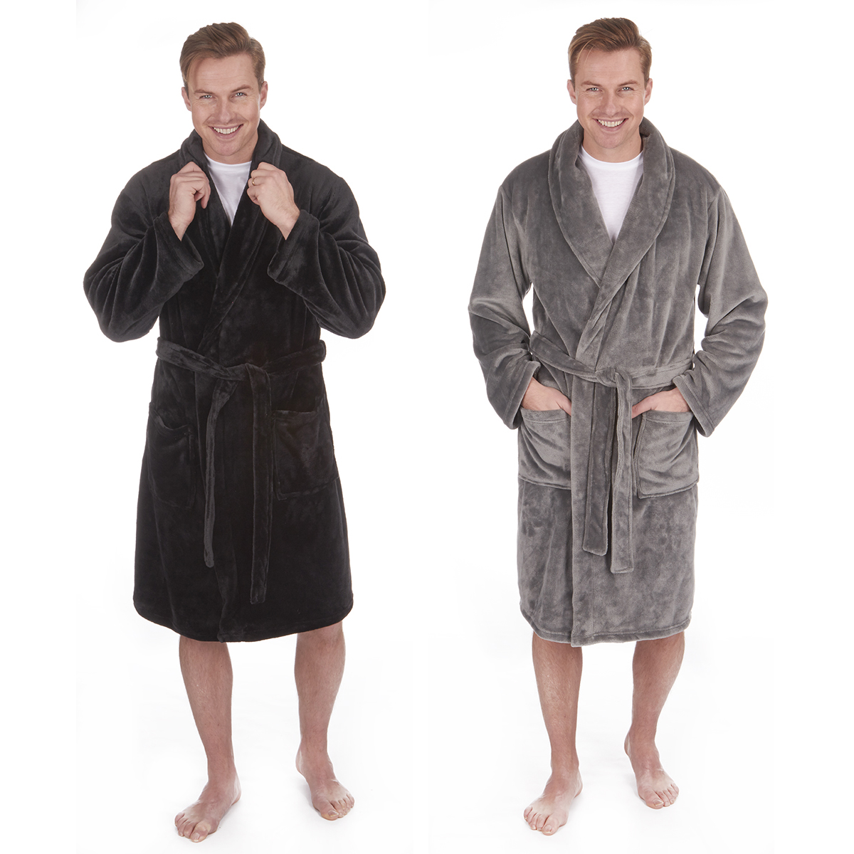 Mens Dressing Gown Robe Flannel Shawl Collar Nightwear Soft Fleece ...