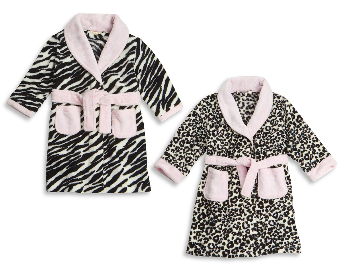 Girls Super Soft Fleece Dressing Gown Robe Animal Print Leopard Zebra 2-6  Years c269ad548