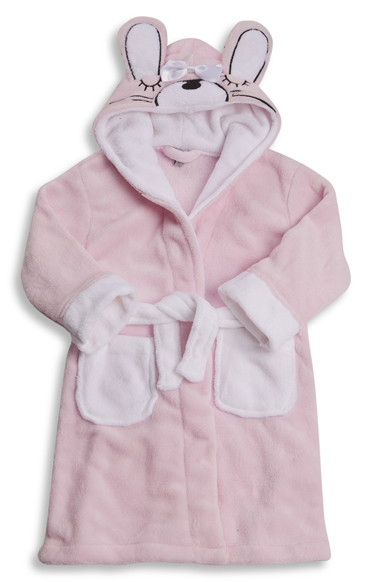 493a18eae MINIKIDZ Girls Bunny Hooded Dressing Gown Bath Robe Ears Plush ...