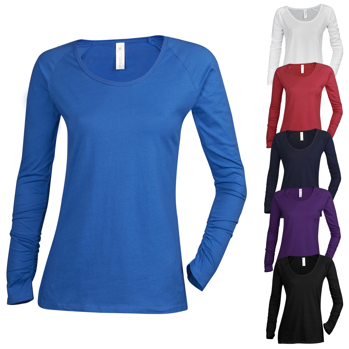 B c ladies plain long sleeve t shirt shirt top scoop neck for Women s 100 cotton long sleeve tee shirts