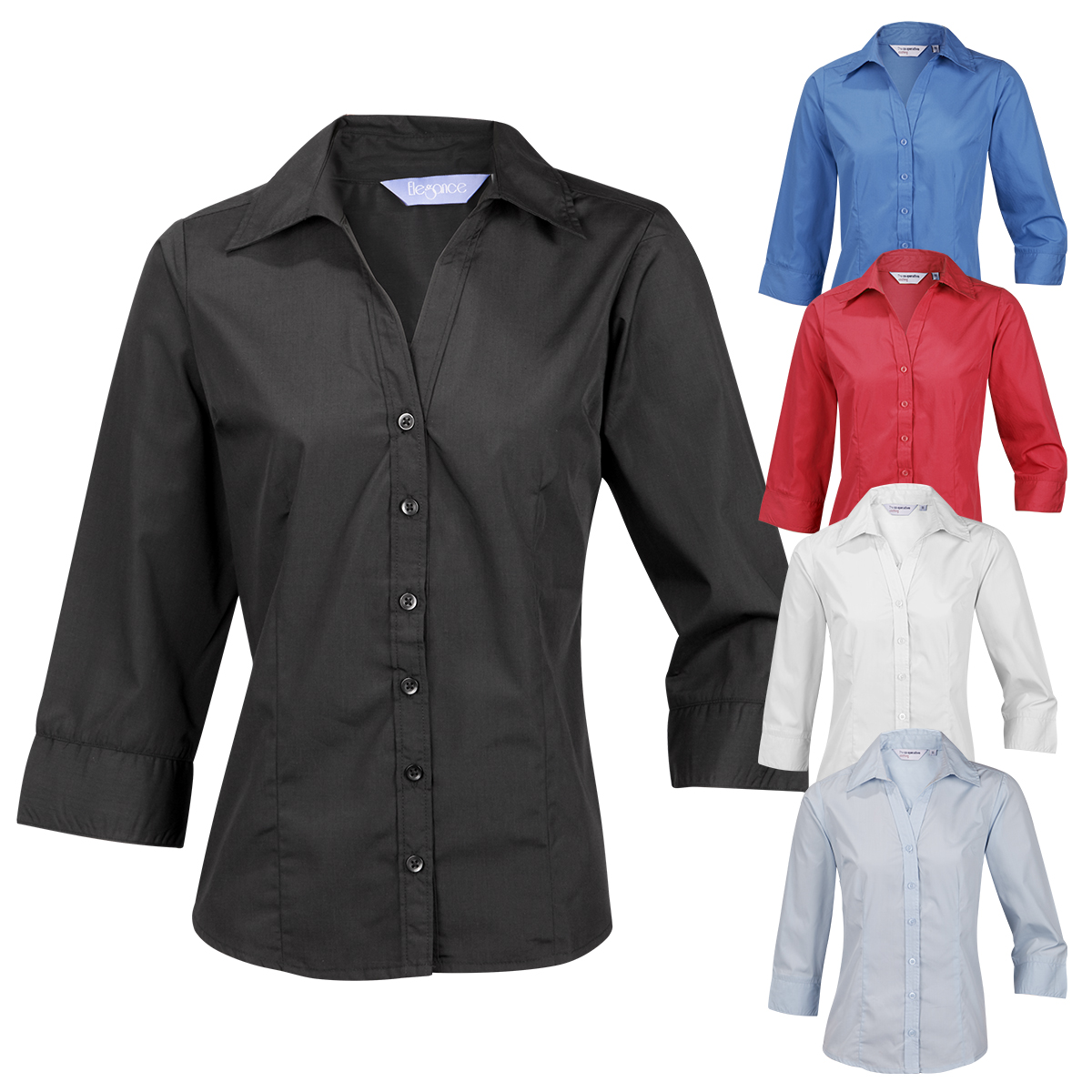 952814821a824 Ladies Womens Plus Size Blouse Shirt Top 3 4 Sleeve Work Office Formal Open  Neck