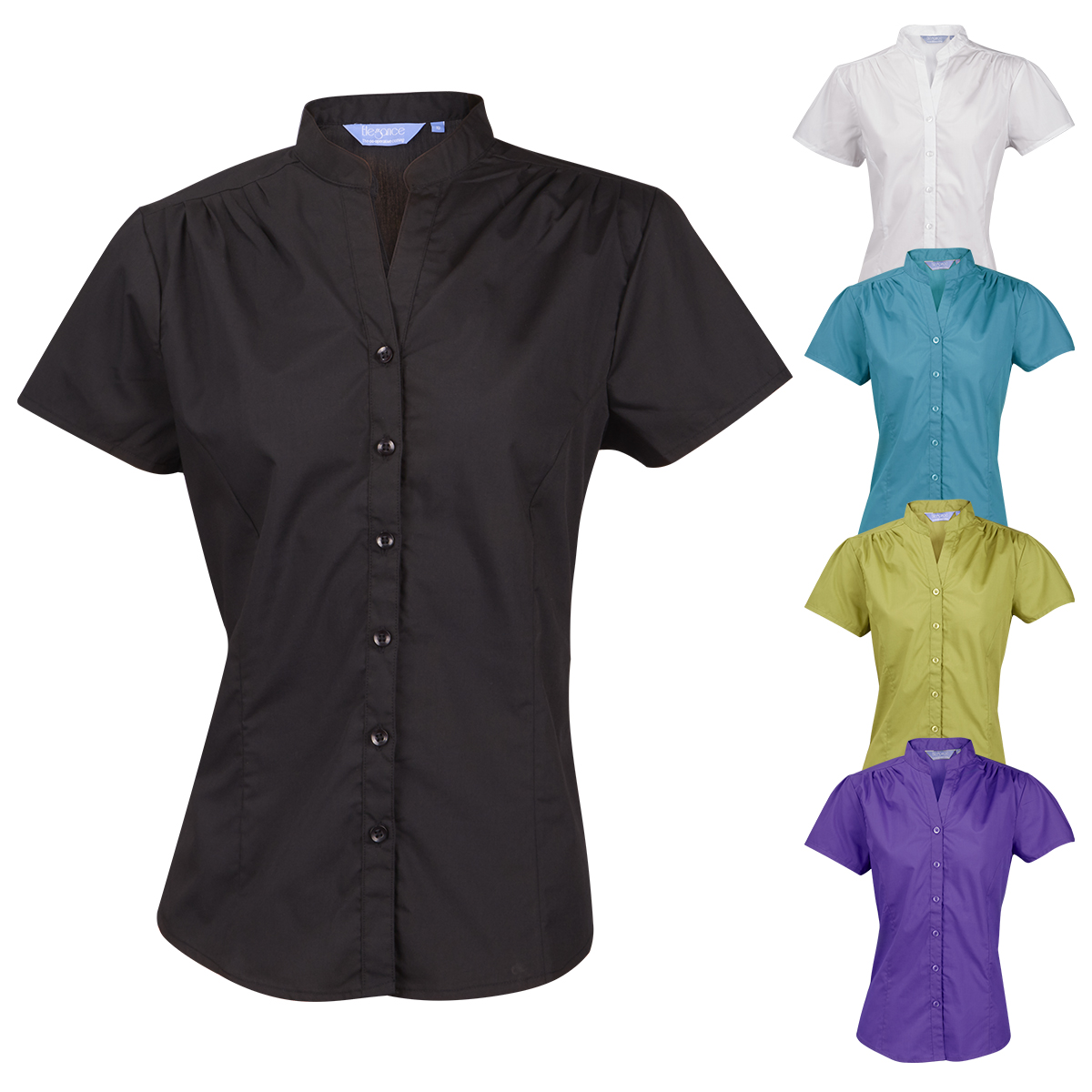 51c44a2af3f Ladies Womens Blouse Shirt Top Short Sleeve Work Office Formal Mandarin  Collar