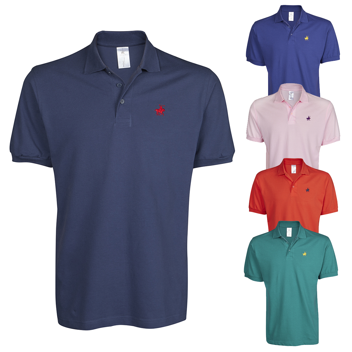 Mens Polo Shirt Cotton Short Sleeve Designer Top Horse