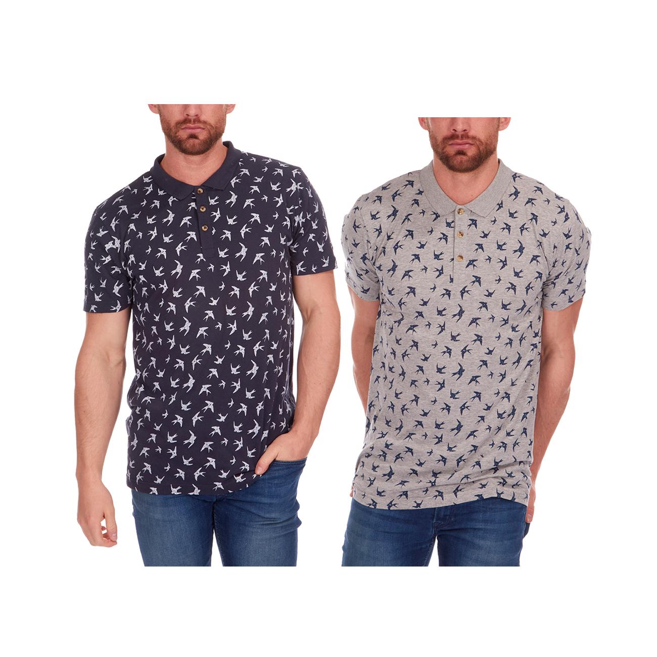 Urban Revival Mens Printed Polo Collar T Shirt Tee Bird Swallow