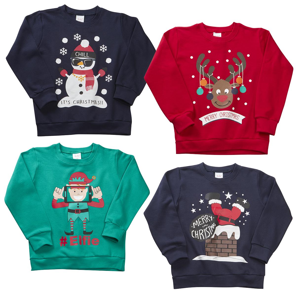 childrens boys christmas jumper sweatshirt xmas novelty. Black Bedroom Furniture Sets. Home Design Ideas