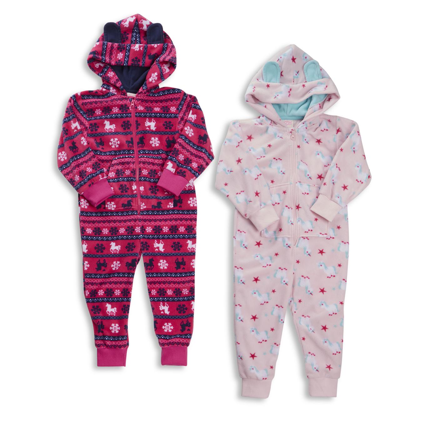 18c7e2360b34 Kids Infant Girls Pony Unicorn Hooded All In One Micro Fleece ...