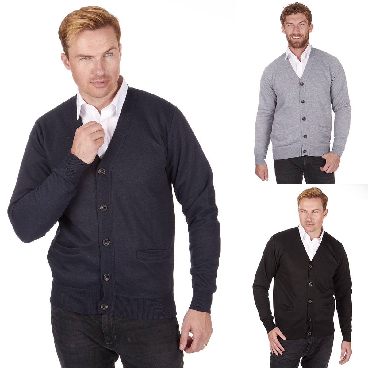 Men's Knitted Button Cardigan Sweater Casual Pull Over V Neck Golf ...