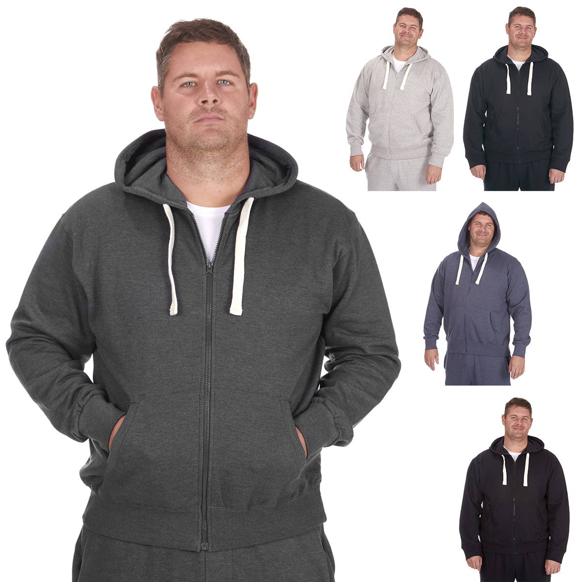 78102e0ff60 Men s Plus Size Hoodie Pullover Jacket Basic Plain Casual Hoody Size  3XL-6XL UK