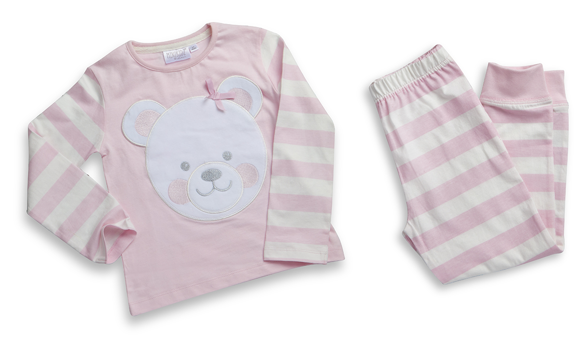 607908517 Details about Childrens Girls Pyjama Set Kids PJs Top Bottoms Teddy Bear  Cute Design Pink