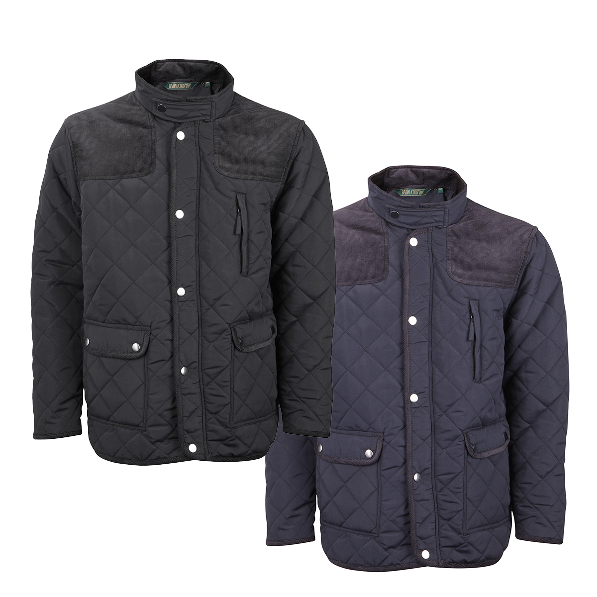 Baum Country Mens Quilted Jacket Coat Diamond Padded Cord Patches