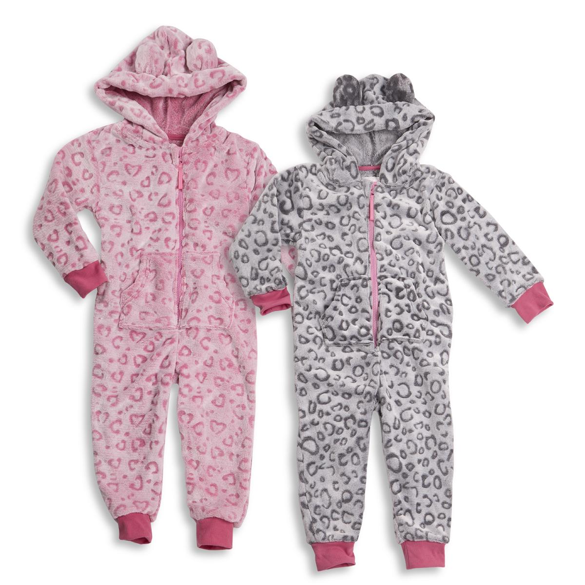 093455e44eda ONEZEE Girls Kids Hooded All-In-One Leopard Print Jumpsuit Nightwear  Sleepwear