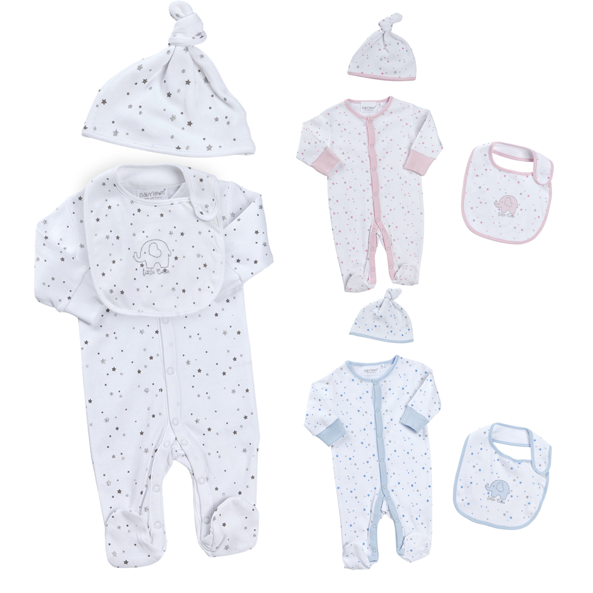 ee0449db0d5a2 Newborn Unisex Baby Boy Girls 3 Piece All In One Sleepsuit Hat Bib Outfit  0-12m