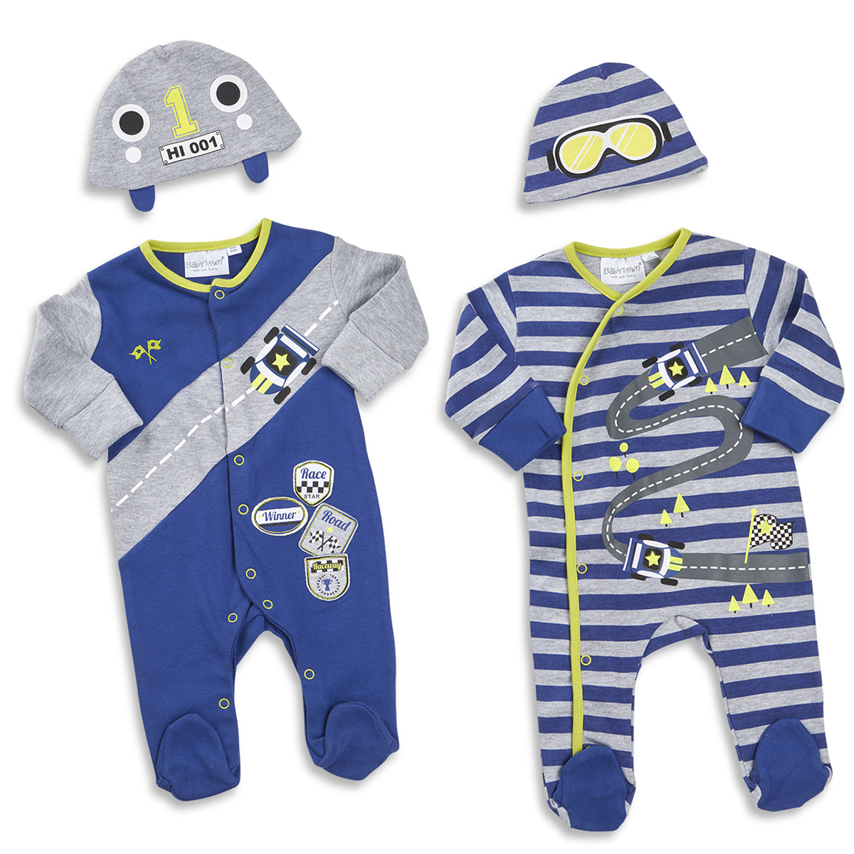 Baby Boys Sleepsuit   Hat Set Car Print Race Track Newborn-9 Months By  BABYTOWN 8465ca75865