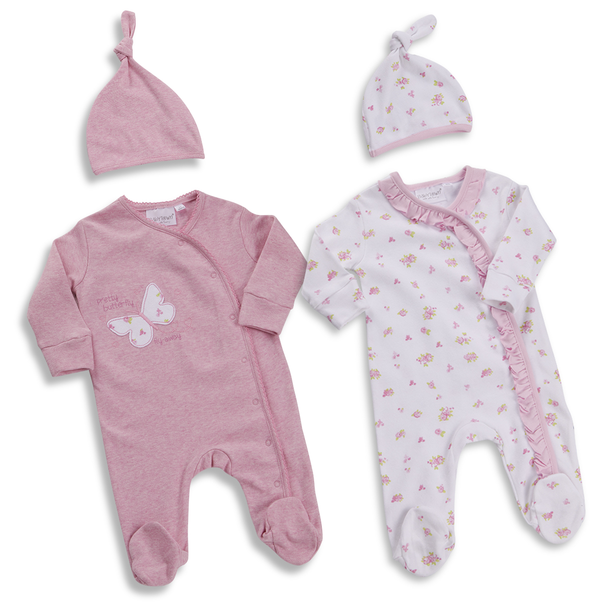 39c7713137ef1 Baby Babies Girls Sleepsuit & Hat Set All-In-One Floral 0-12 Months By  BABYTOWN