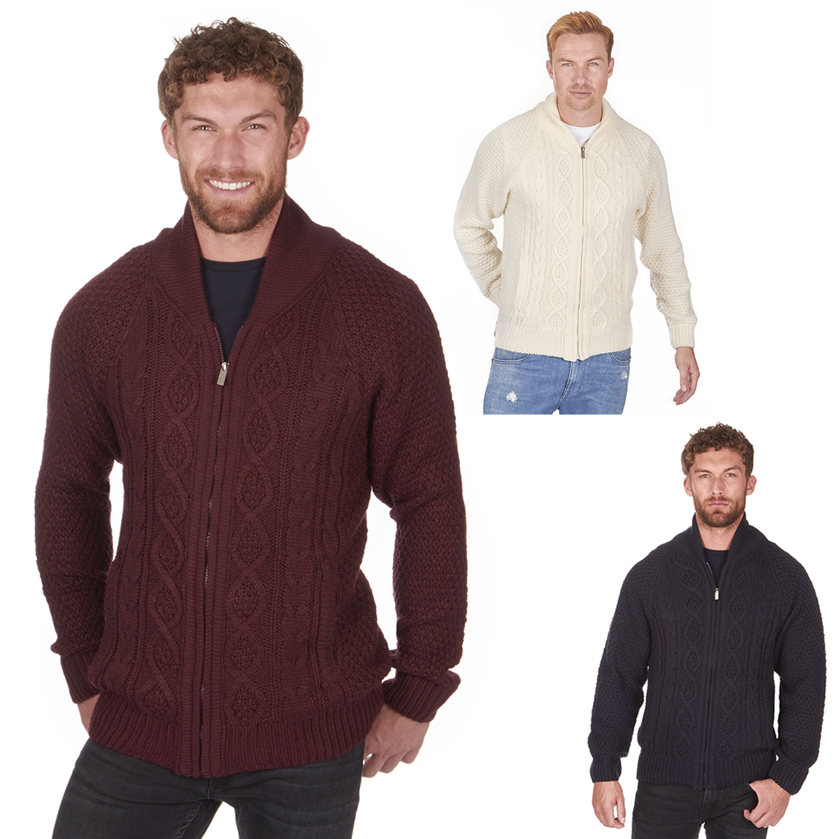 Mens Chunky Cardigan Knitted Warm Winter Thick Shawl Collar Cable ...
