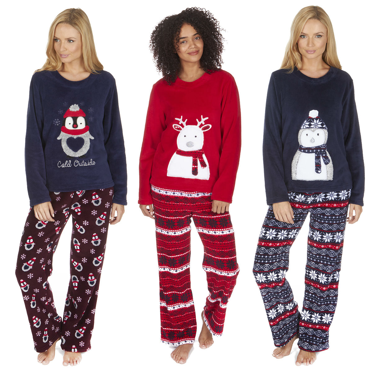 5dc852d9af Women s Coral Fleece Christmas PJ Pyjama Set Nordic Fairisle Forever  Dreaming