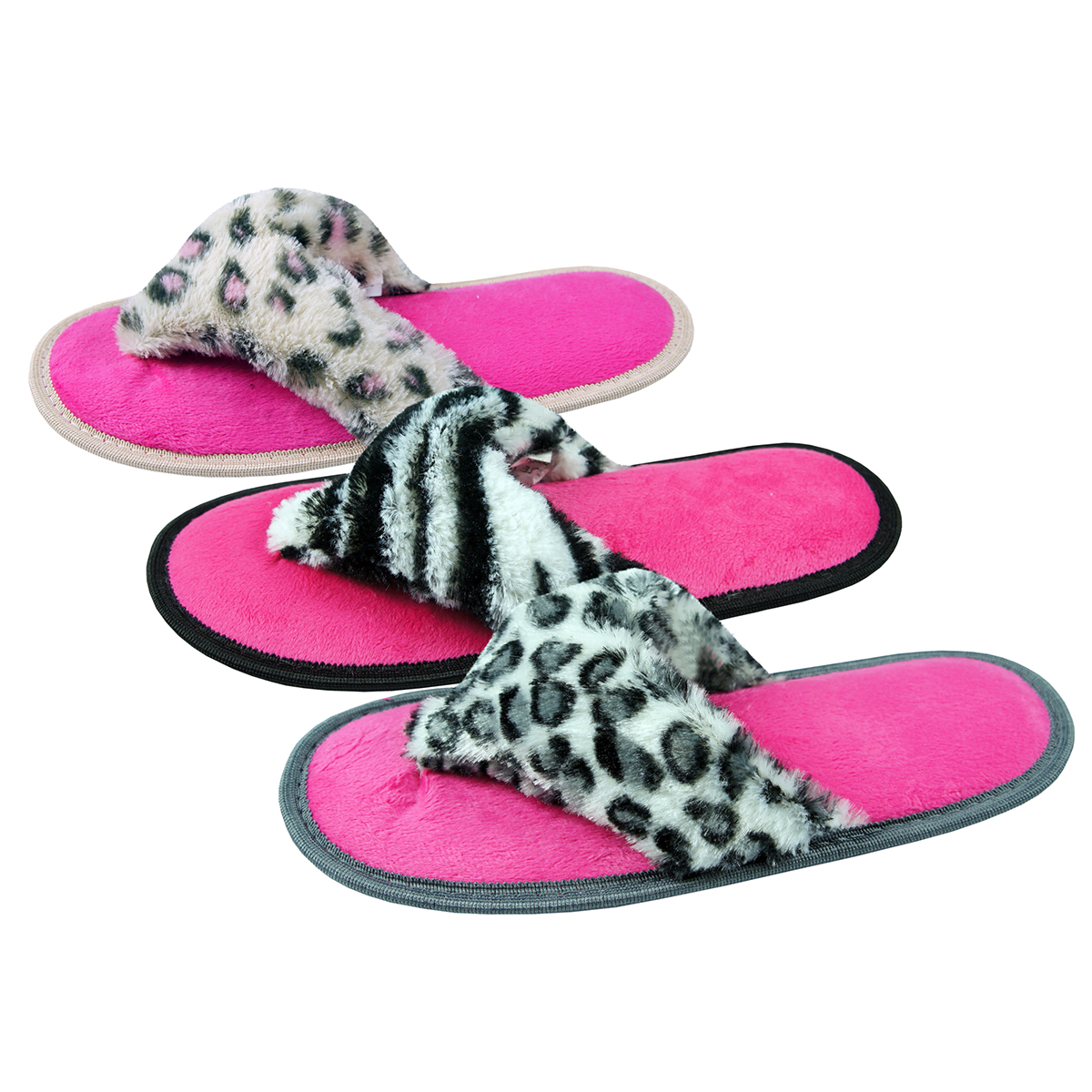 566d93156a67b2 Ladies Womens Animal Print Slippers Flip Flop Textile Faux Fur FOREVER  DREAMING