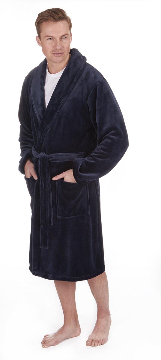 Mens Dressing Gown Robe Nightwear Plus King Size Flannel Fleece