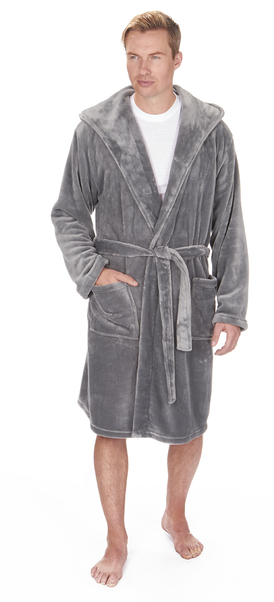 Mens Hooded Dressing Gown Flannel Fleece Plus King Size Robe
