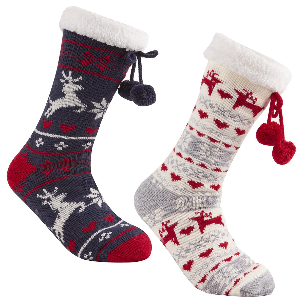 Ladies Womens Chunky Christmas Socks Warm Winter Non Slip Gripper ...