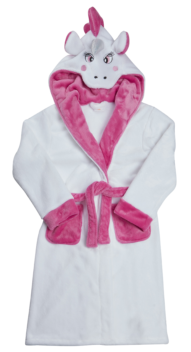 Kids Childrens Girls Novelty Pony Unicorn Hooded Fleece Dressing ...