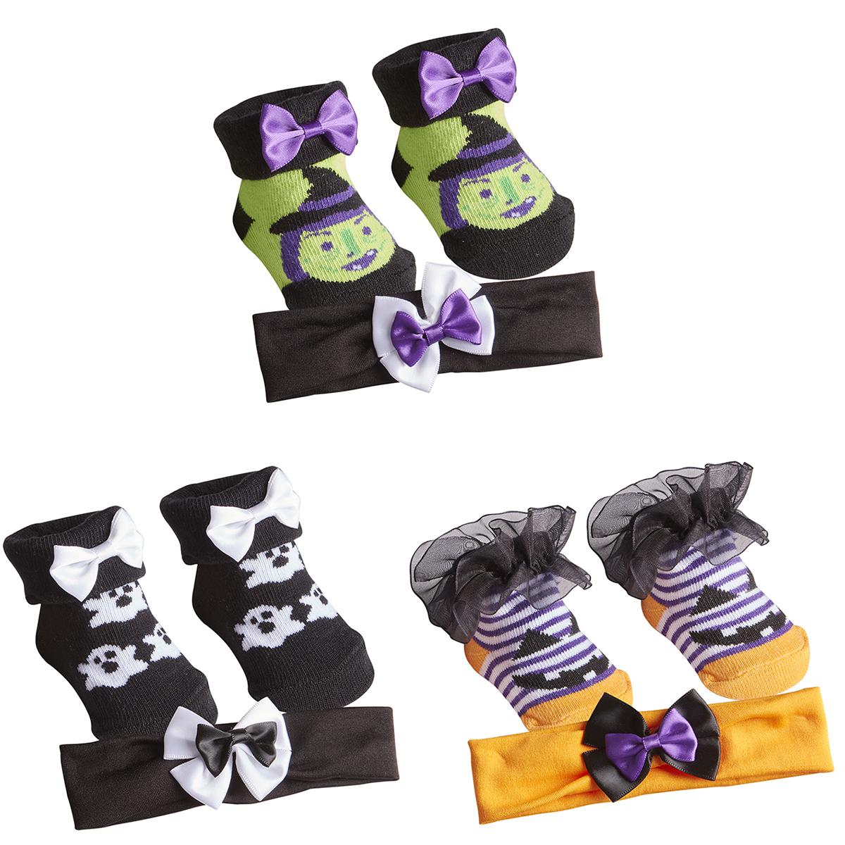 Baby Girls Novelty Halloween Socks Headband Set Bow Accessory 3 Pack Multipack