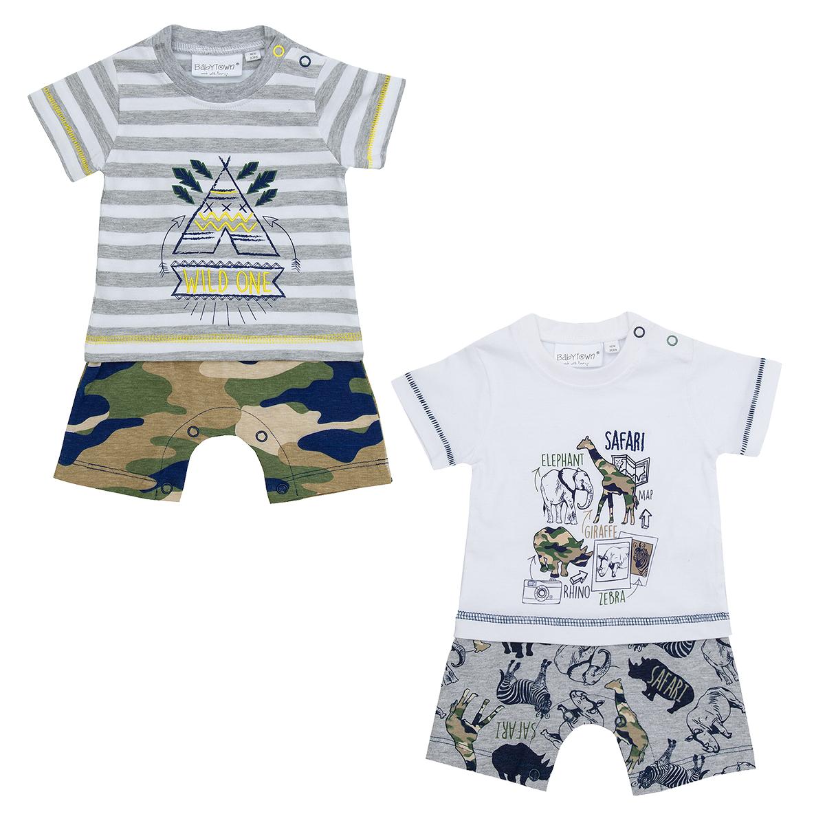 331f9d3b8 Baby Boys Safari Print Romper Suit Cotton Rich Summer Clothes ...